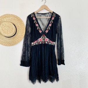 Topshop black floral lace dress.